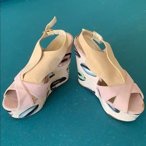Liliana pink and flesh kissable lips shoes
